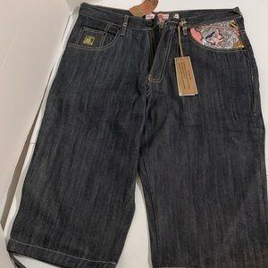Kanji Premium Samurai Embroidered jeans shorts NWT